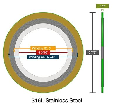 Spiral Wound Gasket 4 150 Winding Ss316 Inner C S Outer C W Gf Ches 2 spiral wound with carbon or 316 ss fg winding and 316l ss ir 150 lb 4 quot