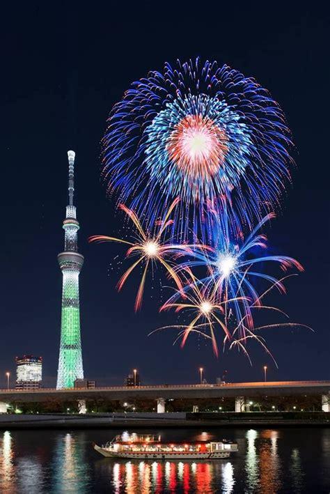 colorful firework sensoji temple asakusa sumida river fireworks festival japan dressed in yukata