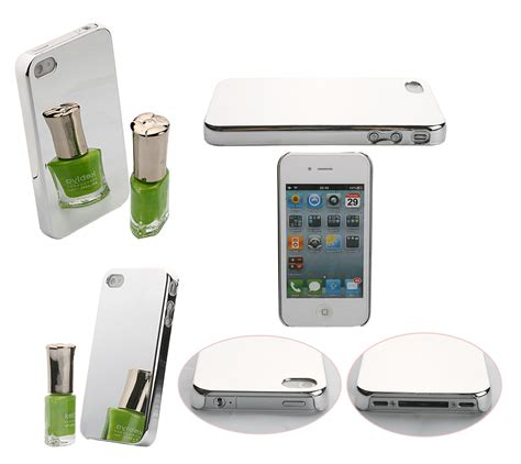 Mirror For Iphone 4g Black brand new silver mirror chrome fitted skin cover for
