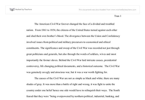 Civil War Essays by U S Civil War Essay International Baccalaureate History Marked By Teachers