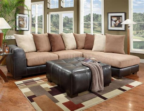 Brown And Sectional Saddle Fabric Brown Vinyl Modern Sectional Sofa