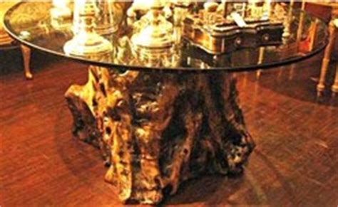 furniture table dining glass top tree trunk base