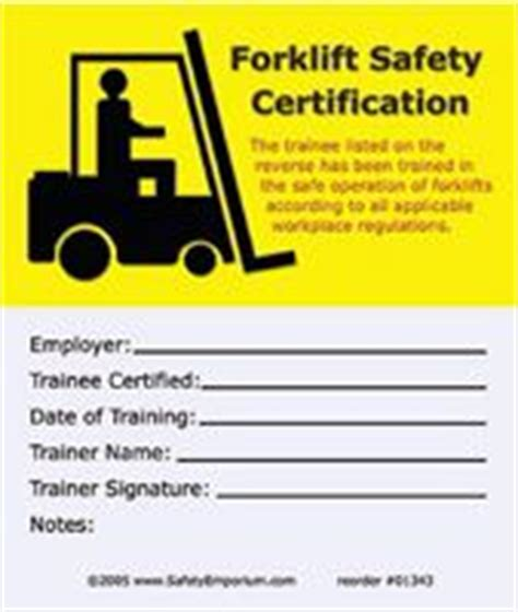 03 04 1985 Position On Msds Format For Compliance With The Hazard Communication Standard Forklift Card Template