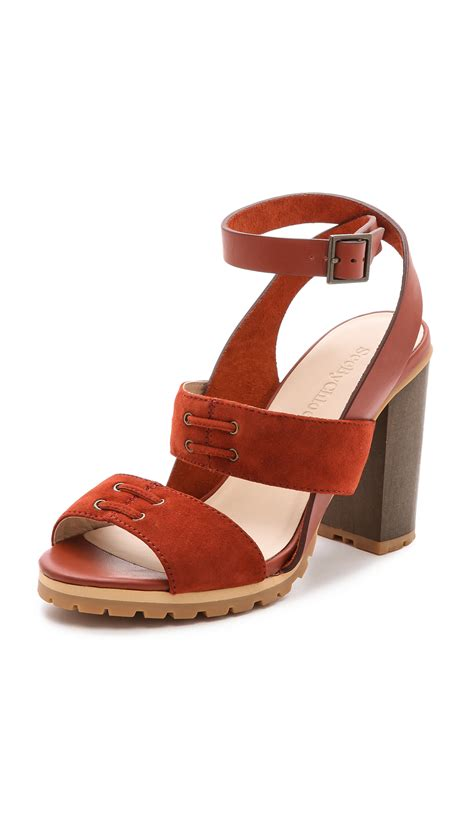 see by sandals see by chlo 233 ankle sandals brown in rust