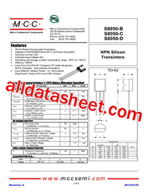 transistor datasheet s8050 s8050 d datasheet pdf micro commercial components