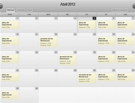 Calendario De Eventos Calendario De Eventos De Abril En Grand Fantasia El Npc