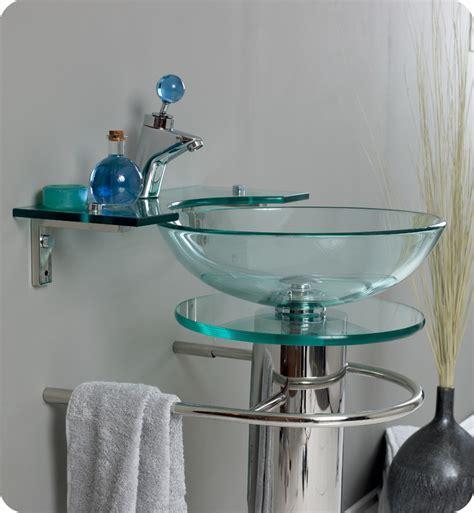 "Fresca Ovale Collection 24"" Modern Glass Bathroom Vanity"