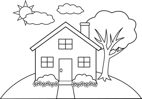 House line drawing clip art simple house sketch drawing front view