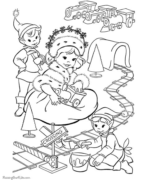Christmas elves coloring pages kids coloring