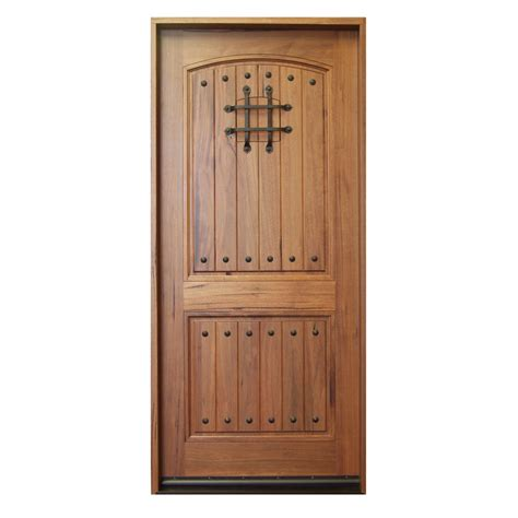 Shop Escon Rustica Left Hand Inswing Medium Walnut With Solid Hardwood Exterior Doors
