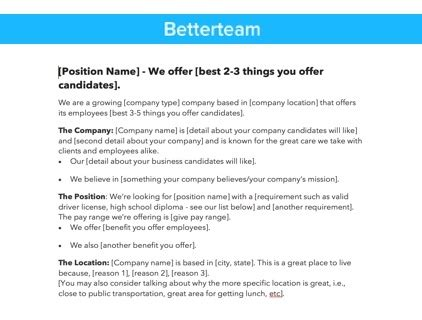 best photos of in house job posting template sle job how to write a job posting that works exles and templates