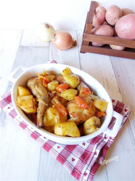 cucinare il coniglio al forno coniglio al forno con patate e pomodorini ketty cucino oggi