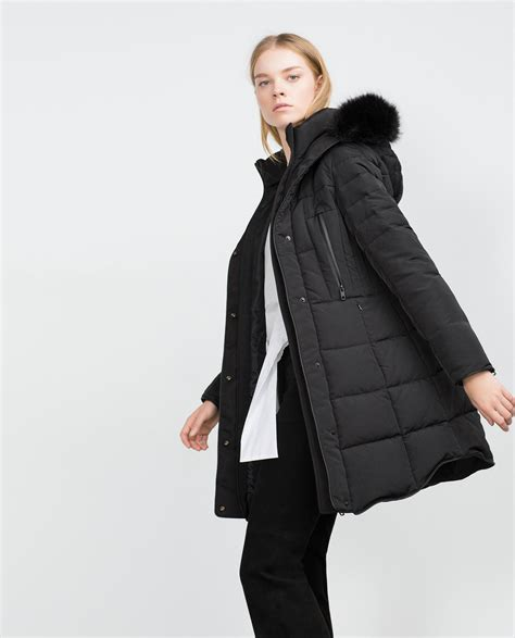 Quilted Fur Coat by Zara Quilted Coat With Detachable Faux Fur In Black