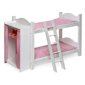 Doll Bunk Beds With Ladder And Storage Armoire by Badger Basket Pink Gingham Princess Doll Bunk Bed With