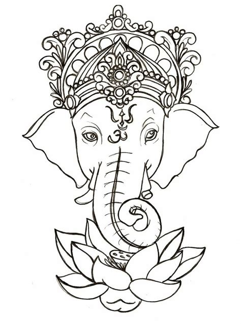 ganesh tattoo template indian elephant drawing ganesha pinterest lotus