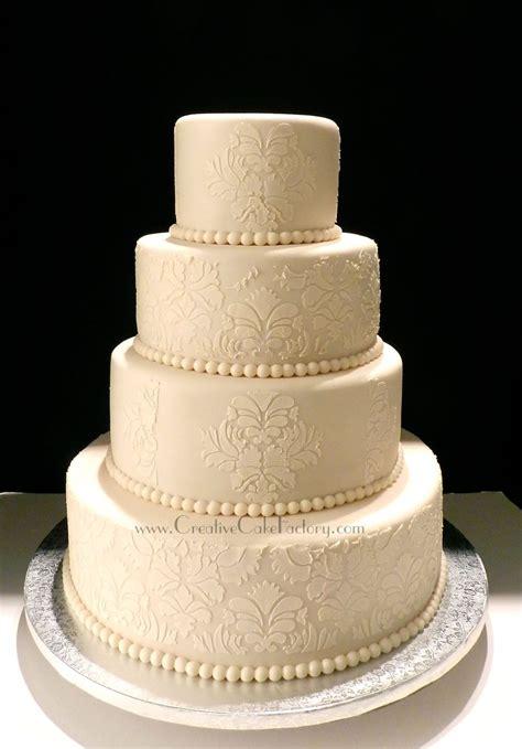 Ivory Wedding by Ivory Damask Wedding Cake Cakecentral