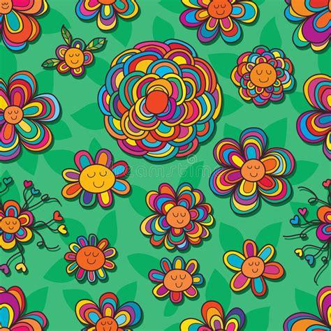 design pattern hibernate flower line cute color seamless pattern stock vector