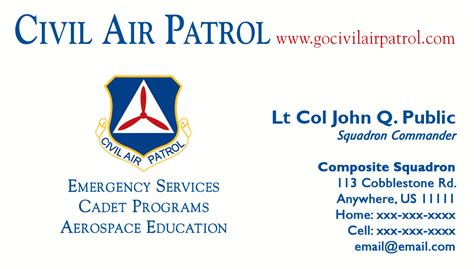 officer business cards templates business card templates civil air patrol national