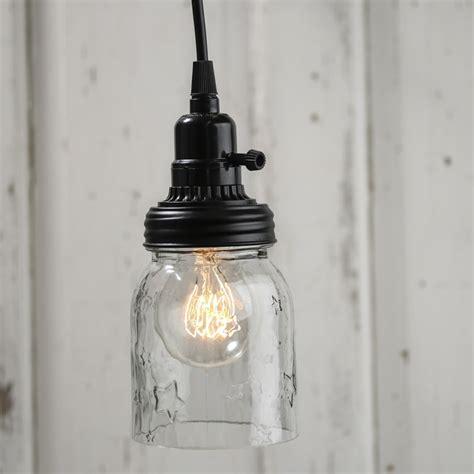 Glass Jar Pendant Light Embossed Glass Jar Pendant L Kit Lighting Primitive Decor