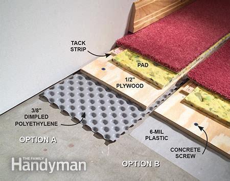 moisture barrier for basement floor how to carpet a basement floor the family handyman