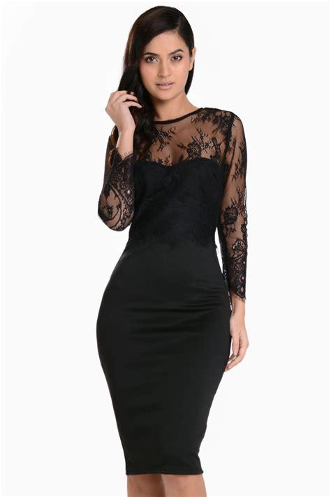 Dress In Black ax maddison lace sleeve overlay midi dress in black