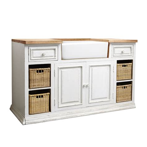 mobile cucina mobile basso bianco da cucina in mango con lavello l 140