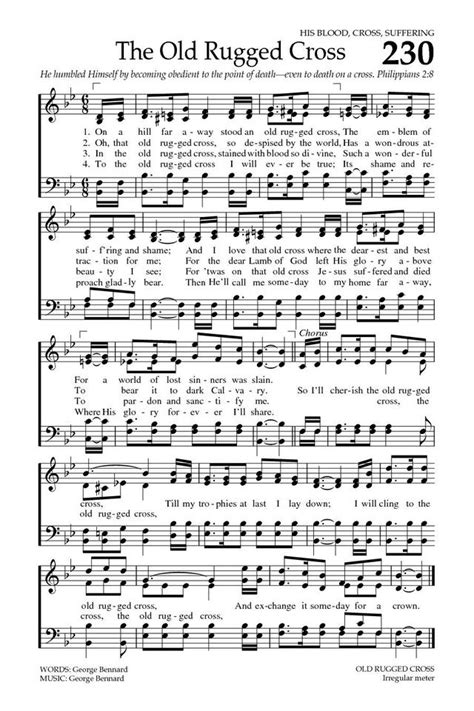 the rugged cross song the rugged cross baptist hymnal 2008 page 325 christian hymns and songs i
