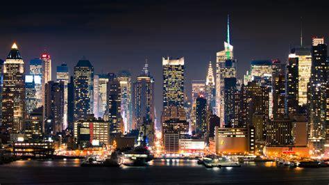 manhattan night in new york city 4k wallpapers manhattan full hd wallpaper and background image