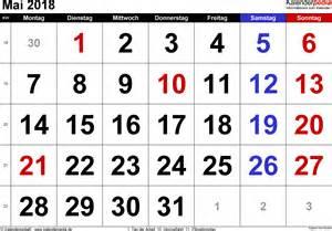 Kalender 2018 Querformat Kalender Mai 2018 Als Excel Vorlagen