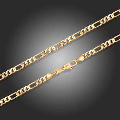 60cm Unisex Figaro Gold Chain 22k Yellow Gold Filled Gf 24mm yellow or white gold color figaro chain necklace