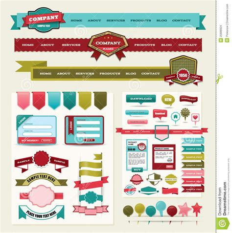 design elements used in a website website design elements stock vector illustration of