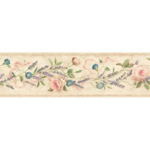 bathroom wallpaper borders home depot the wallpaper company 6 13 in x 15 ft multicolored floral trail border wc1281822 the home depot