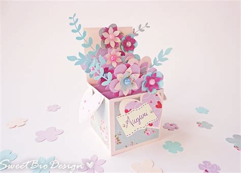 flower pop up card template color scatola fiori pop up card pop up 3d flowers