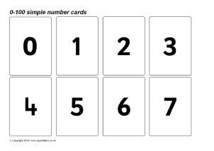 printable numbers cards 1 100 eyfs ks1 printable number cards sparklebox