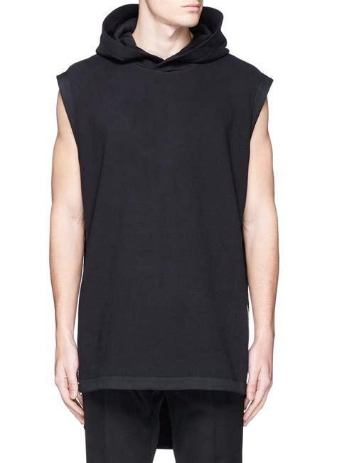 black zipper hoodie givenchy sleeveless side zip hoodie in black for men lyst