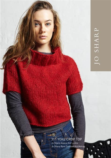 knit crop top pattern jo sharp yoke crop top pattern knitting pattern halcyon