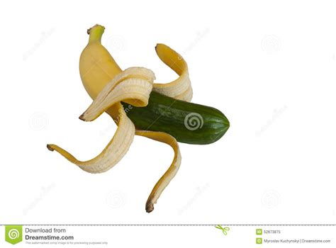 Funny Hybrid Banana And Cucumber Stock Image   Image: 52673875