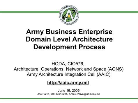 army business enterprise domain level architecture