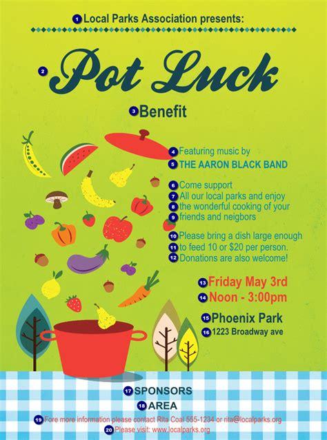 potluck benefit logo flyer ticket printing