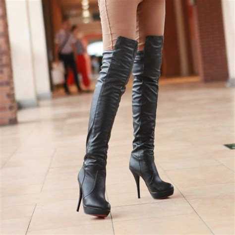 high heel leather boot high heel boots 10