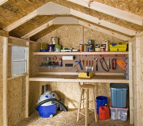 Shed Interiors And Storage Ideas by 12x8 Interior Shown Window Shelf And Workbench Are