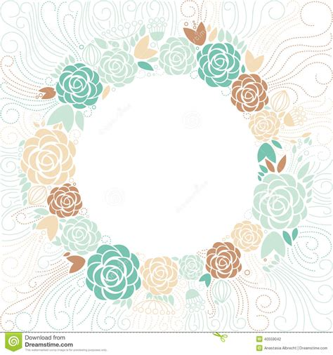 Undangan Vintage Colour floral frame stock vector image 40559042