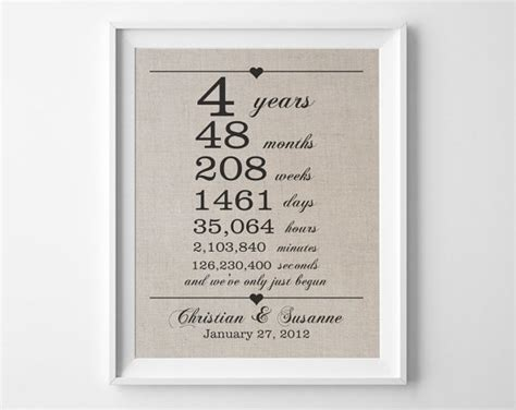 Wedding Anniversary Linen by 4 Years Together Linen Anniversary Print 4th By