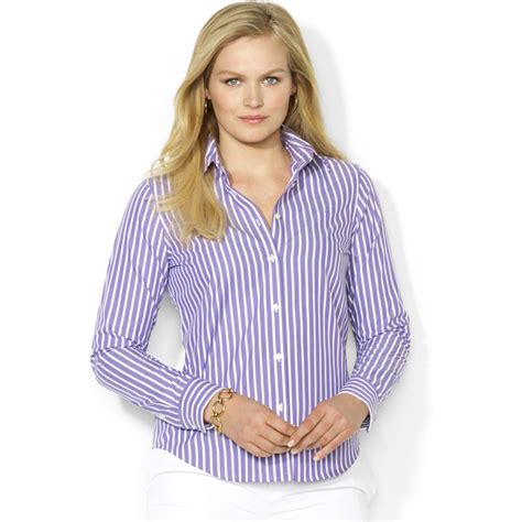 7 Striped Tops I by By Ralph Plus Size Striped Shirt In Purple