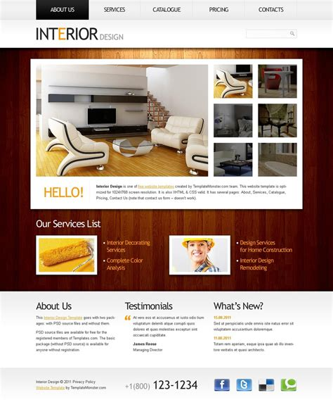 Free Website Template Clean Style Interior Interior Design Website Templates