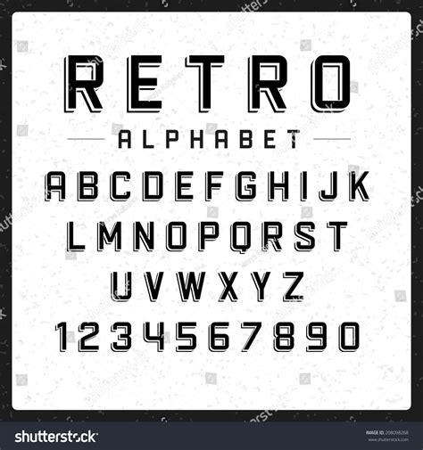 font design elements retro alphabet font type letters numbers stock vector