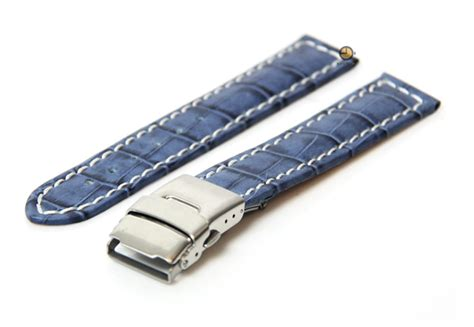 Hb Croco Doff Blue watchstrap 18mm blue croco leather cheap watchstraps on horlogeband
