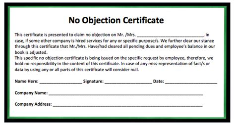 no objection certificate template sle certificate microsoft word templates