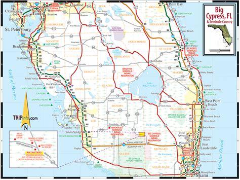 road map of florida big cypress florida seminole country map