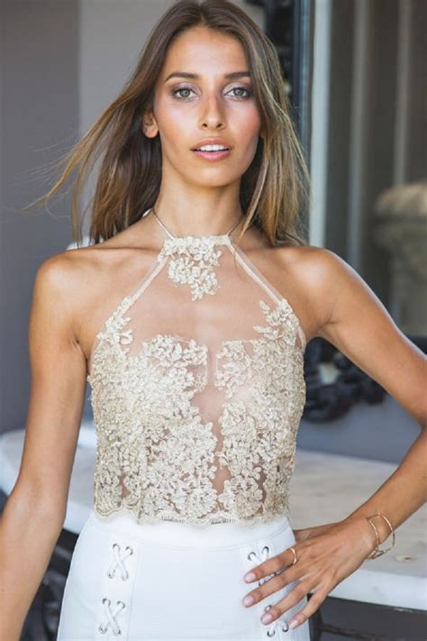 Gold Mesh Embroidery Lace Halter Crop Top @ Sexy Crop Tops